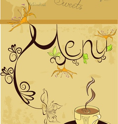 template for menu with a cup of coffee vector image vector image
