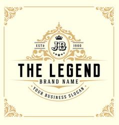vintage luxury monogram logo template vector image vector image