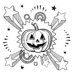 doodle pop jack o lantern pumpkin vector image vector image