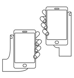 hands with phone set vector image vector image