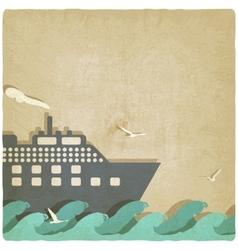 marine boat on waves old background vector image
