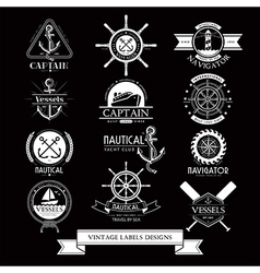 Nautical vessels vintage labels icons and design vector