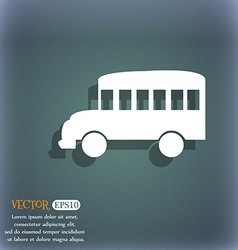 Bus icon On the blue-green abstract background vector image vector image