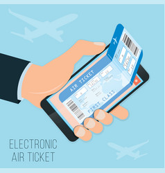 buying a ticket online e-ticket in the smartphone vector image vector image