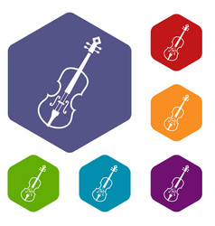 cello icons set vector image vector image