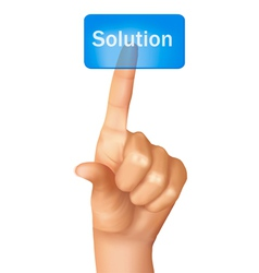 finger pushing learn solution vector image