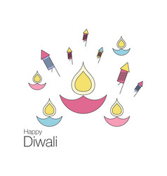 happy diwali text design vector image vector image