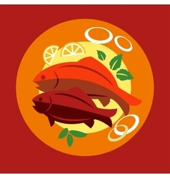 Healthy seafood dinner with fish vector image