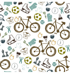 hipster sport bicycle seamless pattern vector image