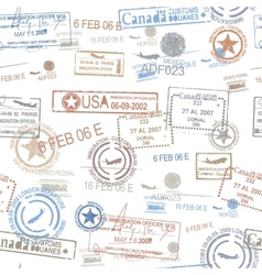 Rubber passport stamps travel symbol vector image