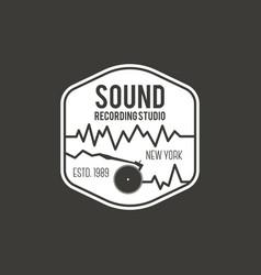 sound recording studio label badge vector image vector image