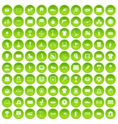 100 playground icons set green circle vector
