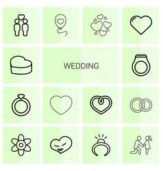 14 wedding icons vector image