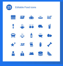 25 food icons vector