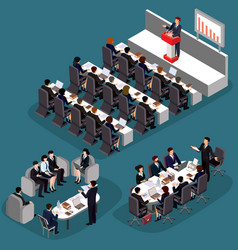 3d flat isometric business vector image