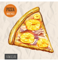 A slice of hawaiian pizza vector image