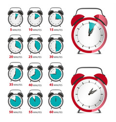 alarm clocks set with time symbol analog counter vector image