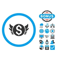 Angel Investment Flat Icon with Bonus vector image
