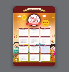Autumn Calendar 2016 year design vector