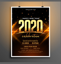 beautiful 2020 new year celebration poster vector image