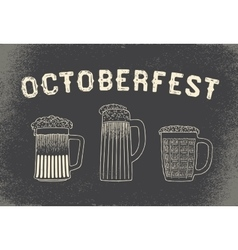 Beer set for Octoberfest Vintage sketch and old vector image
