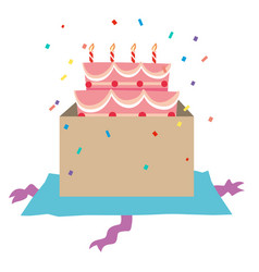 Birthday cake with candles in the box vector
