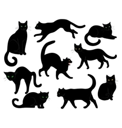 Black cats set vector