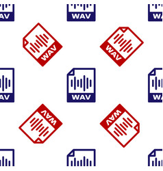 Blue and red wav file document download wav vector