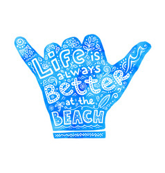 Blue watercolor shaka hand silhouette with white vector