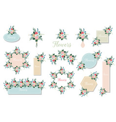 botanic card with wild flowers leaves floral vector image