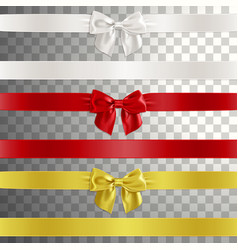 Bows made of satin ribbon in white red and gold vector