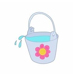 Bucket of water for the garden icon cartoon style vector