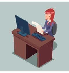 Businessman at Desk Working on Computer Cartoon vector image