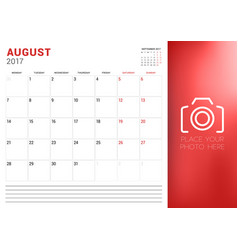 Calendar planner template for august 2017 week vector