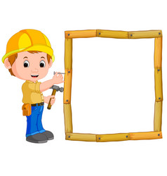 Carpenter with hammer and wood frame vector