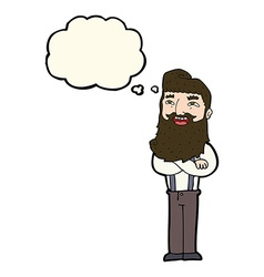 Cartoon happy man with beard with thought bubble vector