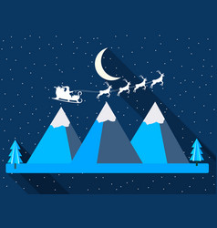 christmas background santa claus is flying in his vector image