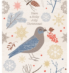 Christmas card Bird and berries vector