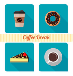 coffee and cakes icons for web vector image