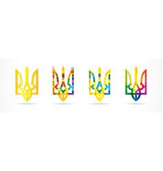 Colored set ukraine emblems vector