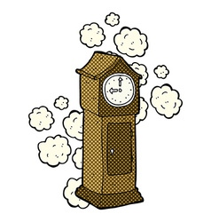 Comic cartoon dusty old grandfather clock vector