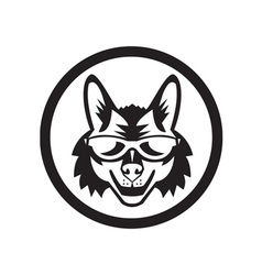 Coyote Sunglasses Circle Retro vector image