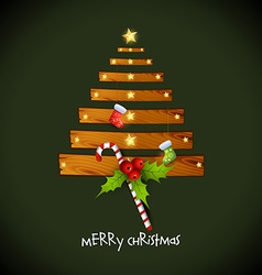 Creative christmas tree with wood vector