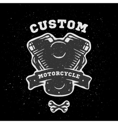 Custom engine hand drawn emblem vector