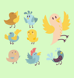Cute birds set cartoon vector