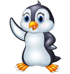 Cute cartoon animal penguin waving isolated on whi vector