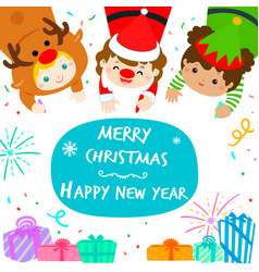 cute kids in christmas background vector image