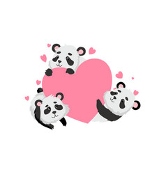 cute panda bears holding pink heart happy lovely vector image