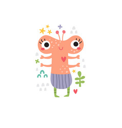 Cute pink lady monster for kids vector