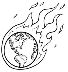 doodle globe warming fire vector image